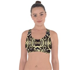 Black Embossed Swirls In Gold By Flipstylez Designs Cross String Back Sports Bra