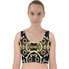 Black Embossed Swirls In Gold By Flipstylez Designs Velvet Racer Back Crop Top