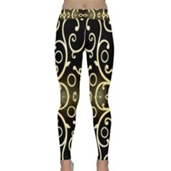 Black Embossed Swirls In Gold By Flipstylez Designs Classic Yoga Leggings