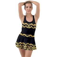 Black Vintage Background With Golden Swirls By Flipstylez Designs  Ruffle Top Dress Swimsuit