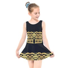 Black Vintage Background With Golden Swirls By Flipstylez Designs  Kids  Skater Dress Swimsuit