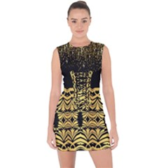 Black Vintage Background With Golden Swirls By Flipstylez Designs Lace Up Front Bodycon Dress