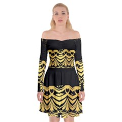 Black Vintage Background With Golden Swirls By Flipstylez Designs Off Shoulder Skater Dress