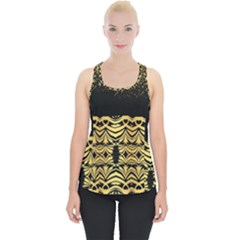 Black Vintage Background With Golden Swirls By Flipstylez Designs Piece Up Tank Top