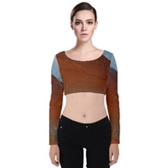 Acid Rain Velvet Long Sleeve Crop Top