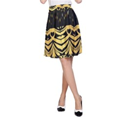 Black Vintage Background With Golden Swirls By Flipstylez Designs  A Line Skirt