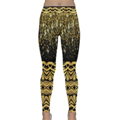 Black Vintage Background With Golden Swirls By Flipstylez Designs  Classic Yoga Leggings