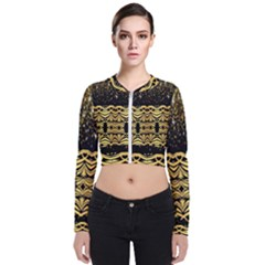 Black Vintage Background With Golden Swirls By Flipstylez Designs  Zip Up Bomber Jacket