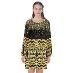 Black Vintage Background With Golden Swirls By Flipstylez Designs  Long Sleeve Chiffon Shift Dress