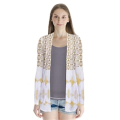 Ivory Marble  In Gold By Flipstylez Designs Drape Collar Cardigan