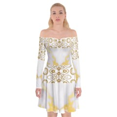 Ivory Marble  In Gold By Flipstylez Designs Off Shoulder Skater Dress