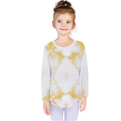 White Marble Pattern By Flipstylez Designs Kids  Long Sleeve Tee