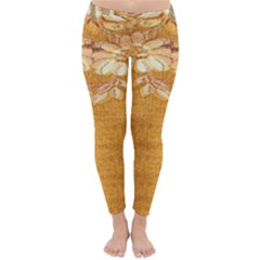 Golden Sunrise Pattern Flowers By Flipstylez Designs Classic Winter Leggings