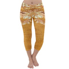 Golden Sunrise Pattern Flowers By Flipstylez Designs Capri Winter Leggings