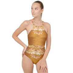 Golden Sunrise Pattern Flowers By Flipstylez Designs High Neck One Piece Swimsuit