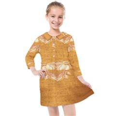 Golden Sunrise Pattern Flowers By Flipstylez Designs Kids  Quarter Sleeve Shirt Dress by flipstylezdes