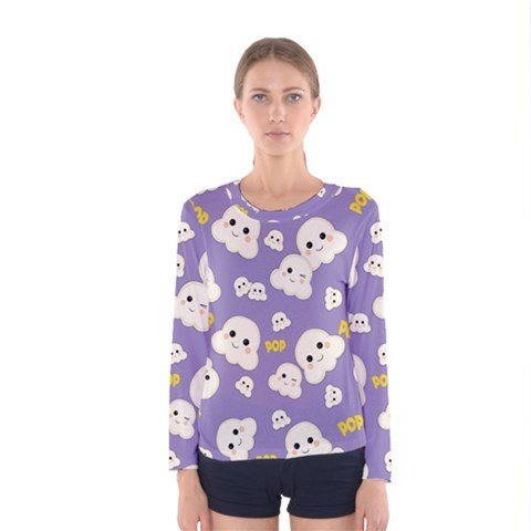 Cute Kawaii Popcorn Pattern Women s Long Sleeve Tee by Valentinaart