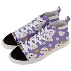 Cute Kawaii Popcorn Pattern Men s Mid Top Canvas Sneakers by Valentinaart