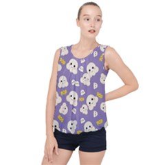 Cute Kawaii Popcorn Pattern Bubble Hem Chiffon Tank Top