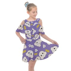 Cute Kawaii Popcorn Pattern Kids  Shoulder Cutout Chiffon Dress