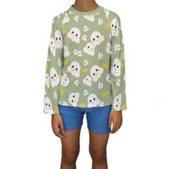 Cute Kawaii Popcorn Pattern Kids  Long Sleeve Swimwear by Valentinaart