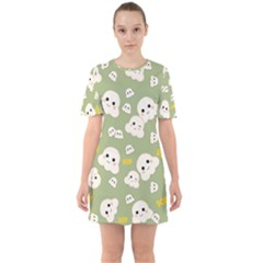 Cute Kawaii Popcorn Pattern Sixties Short Sleeve Mini Dress