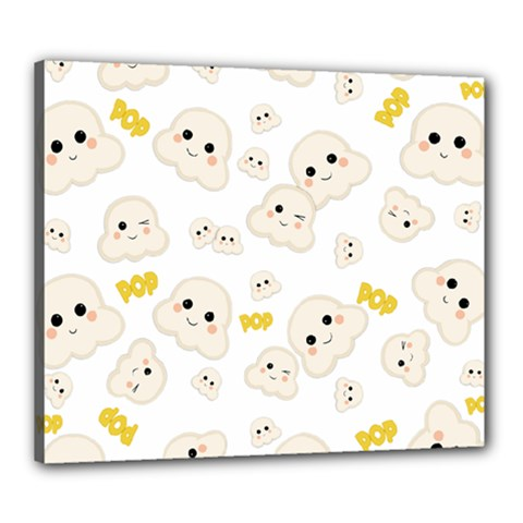Cute Kawaii Popcorn Pattern Canvas 24  X 20  (stretched) by Valentinaart