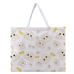 Cute Kawaii Popcorn Pattern Zipper Large Tote Bag