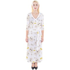 Cute Kawaii Popcorn Pattern Quarter Sleeve Wrap Maxi Dress