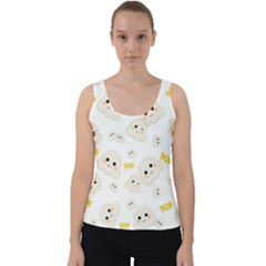 Cute Kawaii Popcorn Pattern Velvet Tank Top