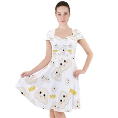 Cute Kawaii Popcorn Pattern Cap Sleeve Midi Dress