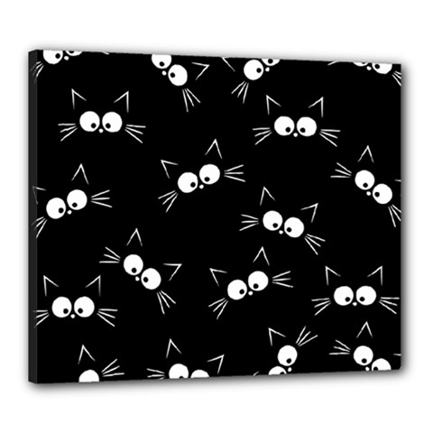 Cute Black Cat Pattern Canvas 24  X 20  (stretched)
