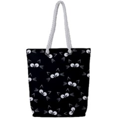 Cute Black Cat Pattern Full Print Rope Handle Tote (small)