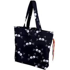 Cute Black Cat Pattern Drawstring Tote Bag