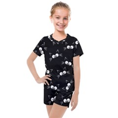 Cute Black Cat Pattern Kids  Mesh Tee And Shorts Set