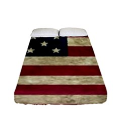 Vintage American Flag Fitted Sheet (full/ Double Size) by Valentinaart
