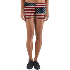 Vintage American Flag Yoga Shorts