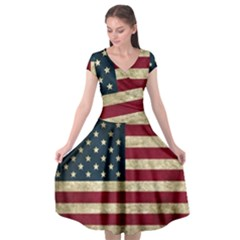 Vintage American Flag Cap Sleeve Wrap Front Dress