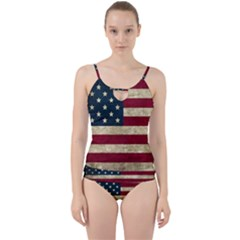 Vintage American Flag Cut Out Top Tankini Set