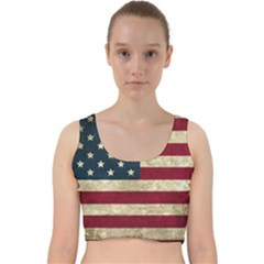 Vintage American Flag Velvet Racer Back Crop Top