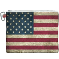 Vintage American Flag Canvas Cosmetic Bag (xxxl) by Valentinaart