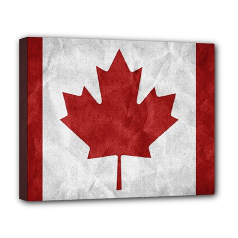 Canada Grunge Flag Deluxe Canvas 20  X 16  (stretched) by Valentinaart