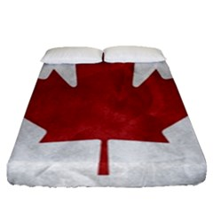 Canada Grunge Flag Fitted Sheet (queen Size) by Valentinaart
