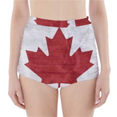 Canada Grunge Flag High Waisted Bikini Bottoms