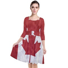 Canada Grunge Flag Quarter Sleeve Waist Band Dress