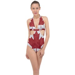Canada Grunge Flag Halter Front Plunge Swimsuit