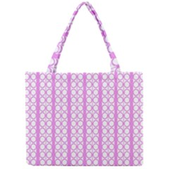 Circles Lines Light Pink White Pattern Mini Tote Bag