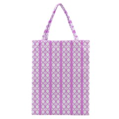 Circles Lines Light Pink White Pattern Classic Tote Bag by BrightVibesDesign