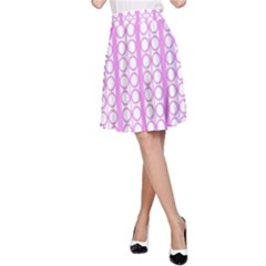 Circles Lines Light Pink White Pattern A Line Skirt