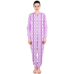 Circles Lines Light Pink White Pattern Onepiece Jumpsuit (ladies)